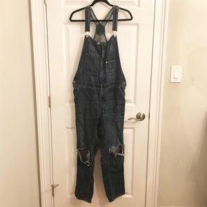 H&M dark wash distressed denim overalls